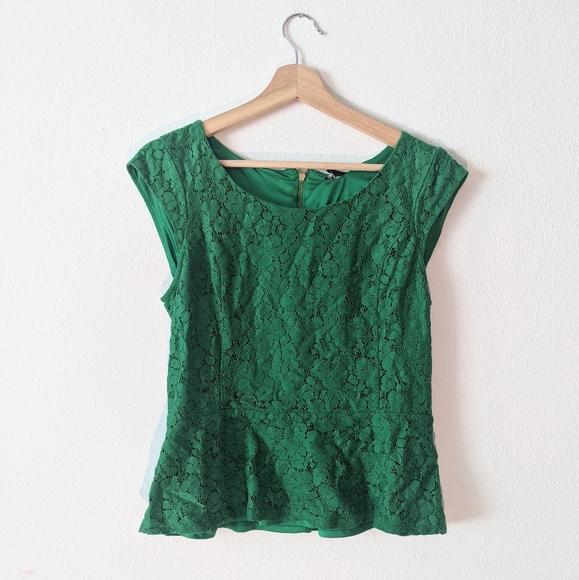 Express Green Lace Peplum Blouse Zipper Top